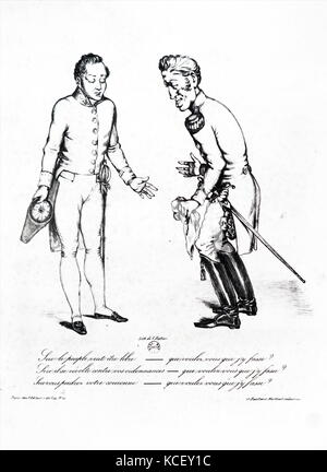 Illustration depicting Jules, 1st Duke of Polignac (1746-1817) a French nobleman, and King Charles X of France (1757 - Stock Photo
