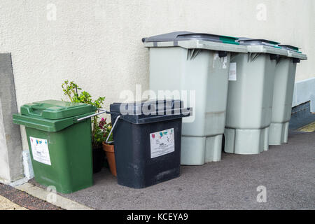 Recycling bins outside a house in St. Vith, Ostbelgien (Cantons de l'Est), Belgium - Stock Photo