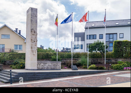 Second World War memorial, 1969, Mühlenbachstrasse, St. Vith, Ostbelgien (Cantons de l'Est), Belgium - Stock Photo