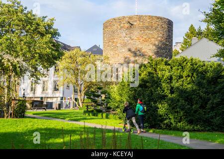 Büchelturm, 14th century watch tower on the mediaeval town walls, St. Vith, Ostbelgien (Cantons de l'Est), Belgium. - Stock Photo