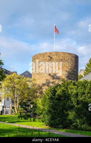 Büchelturm, 14th century watch tower on the mediaeval town walls, St. Vith, Ostbelgien (Cantons de l'Est), Belgium - Stock Photo