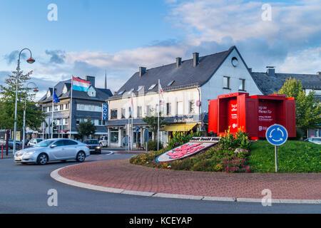 Coat of arms showing the lion of Fauquemont-Limburg on the main roundabout, St. Vith, Ostbelgien (Cantons de l'Est), - Stock Photo
