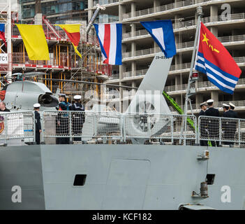 London, UK. 4th Oct, 2017. Chinese warships - Type 54A Frigates Huanggang and Yangzhou pay a goodwill visit to London. - Stock Photo