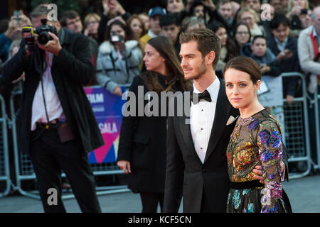 London, UK. 4th October 2017. Claire Foy and Andrew Garfield arrive for the UK film premiere of Breathe at Odeon - Stock Photo