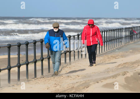 Crosby, Merseyside.  UK Weather.  5th October 2017. High winds blowing fine light sands off the Beach as gales continue - Stock Photo