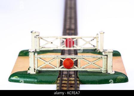 Toy level crossing gates. Meccano hornby dublo railway. - Stock Photo