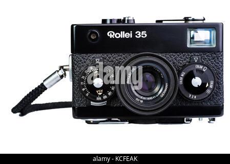 Rollei 35 compact film camera. Vintage old nostalgia. - Stock Photo