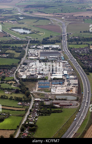 aerial view of Gatherley Road Industrial Estate, Brompton on Swale, Richmond DL10 7JQ - Stock Photo