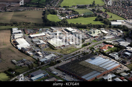 aerial view of County Business Park, Darlington Road, Northallerton DL6 2NQ, UK - Stock Photo