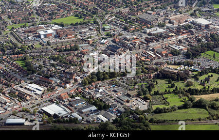 aerial view of Northallerton town centre, North Yorkshire, UK - Stock Photo