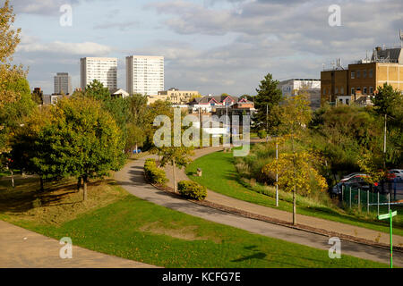 Mile End Park, London - New Globe Tavern Gardens - Stock Photo