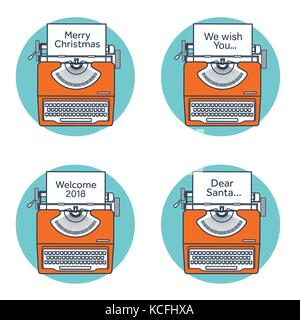 Typewriter in a flat style. Christmas wish list. Letter to Santa ...