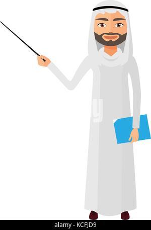 Saudi iran business man or teacher with a pointer flat cartoon vector illustration. - Stock Photo
