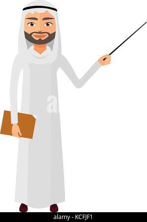 Iran business man or teacher with a pointer flat cartoon vector illustration. - Stock Photo