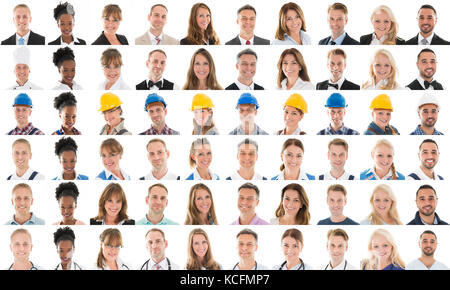 Collage Of Happy Multi Ethnic People With Various Profession Against White Background - Stock Photo