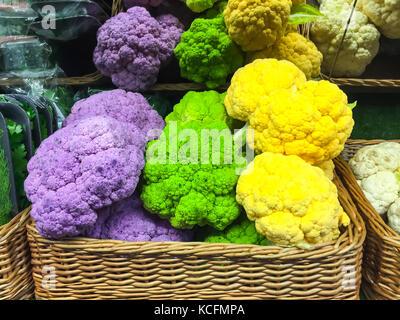 Healthy Eating: Juicy Multicolored cauliflower - Stock Photo