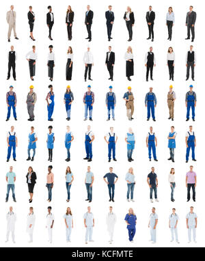 Set Of People With Various Occupations Standing Against White Background - Stock Photo