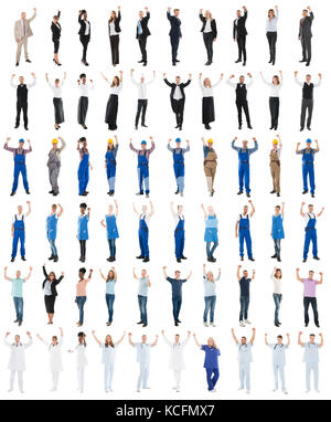 Set Of People With Various Occupations Raising Arms Against White Background - Stock Photo