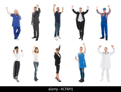 People With Various Occupation Raising Arms Against White Background - Stock Photo