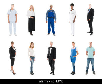 Collage Of Happy People With Various Occupations Standing Against White Background - Stock Photo