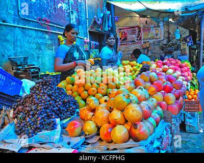 main market, Pondicherry (Puducherry), India - Stock Photo