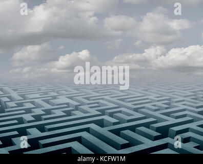 Labyrinth background and abstract maze perspective scene as a 3D illustration. - Stock Photo