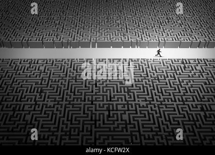 Business strategy pathway concept as a businessman leader running through an opening in a confused labyrinth as - Stock Photo