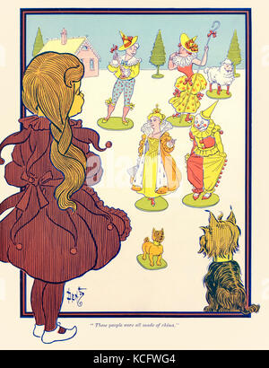"""""""These people were all made of china."""" from 'The Wonderful Wizard of Oz' by L. Frank Baum (1856-1919) with pictures - Stock Photo"""