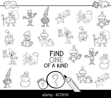 Black and White Cartoon Illustration of Find One of a Kind Educational Activity Game for Children with Christmas - Stock Photo