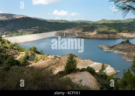 The Kannaviou Dam, the fourth largest dam in Cyprus and the third largest dam in the Paphos district with a capacity - Stock Photo