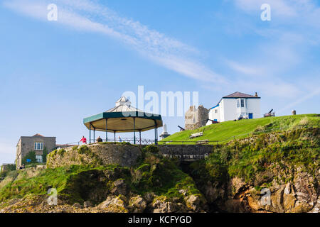 Offshore view to bandstand and buildings on Castle Hill viewpoint in Pembrokeshire Coast National Park. Tenby, Pembrokeshire, - Stock Photo
