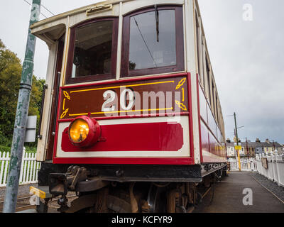 Manx Electric Railway Winter Saloon car number 20. Manufactured 1899. - Stock Photo