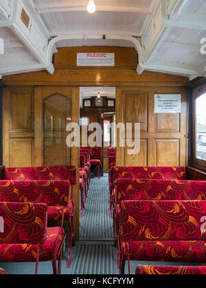 Manx Electric Railway Winter Saloon car number 20 interior. Manufactured 1899. - Stock Photo