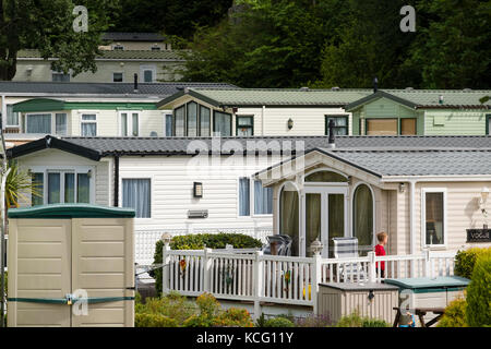 Summer holidays in the UK: Luxury new Static caravans on a campsite, UK - Stock Photo