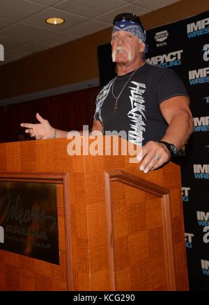... LAS VEGAS, NV - May 15: Hulk Hogan Helps Welcome TNA Impact Wrestling to
