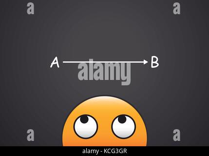 Vector Emoji person looking at the next step to follow through. From A to B decisionmaking concept - Stock Photo