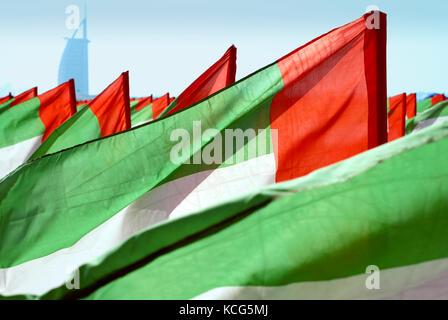 fragment of the United Arab Emirates flag close-up - Stock Photo