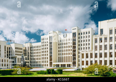 Minsk, Belarus. White Government Parliament Building Or National Assembly Of Belarus In Independence Square. Sunny - Stock Photo