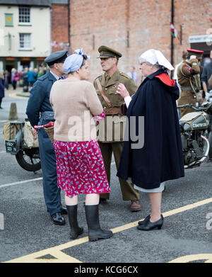 Group of people dressed in 1940's vintage clothing, Welshpool,Powys,2017 - Stock Photo