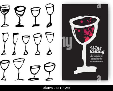 Set of hand drawn drink cups. Illustration of design template with wine glass. Vector Illustration - Stock Photo