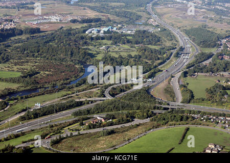 aerial view of M73 & M74 motorway junction at Uddingston near Glasgow, Scotland - Stock Photo
