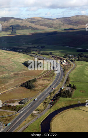 aerial view of the A74(M) Motorway looking North with the River Clyde in the foreground, Elvanfoot, near Biggar, - Stock Photo