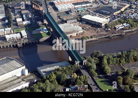 aerial view of the Queen Elizabeth Bridge in Sunderland, UK - Stock Photo