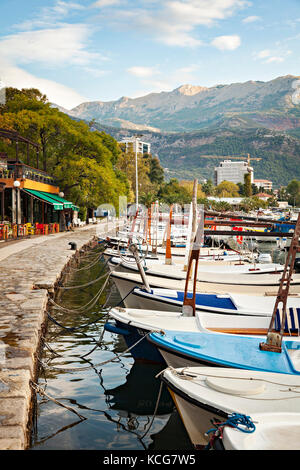 BUDVA, MONTENEGRO - SEPTEMBER 26, 2017. Boats moored in the marina. - Stock Photo