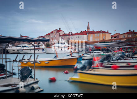 Marina by Stari Grad (Old Town) in Budva, Montenegro. - Stock Photo