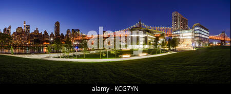 Panoramic view of the Cornell Tech campus on Roosevelt Island at twilight. New York City