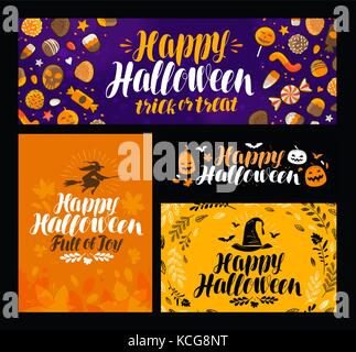 Halloween, trick or treat banner. Holiday symbol, greeting card. Lettering vector illustration - Stock Photo