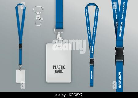 Set of lanyard and badge. Metal piece. Template for presentation of ...
