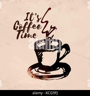 Hand-drawn cup of coffee. Colored with coffee stainsVector Illustration. - Stock Photo