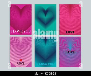 Set of cards with background illustration of heart. Modern line design. Vector template - Stock Photo